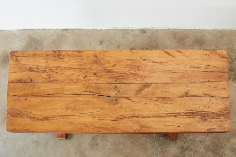 Country French Reclaimed Oak Farmhouse Trestle Dining Table In Distressed Condition For Sale In Rio Vista, CA