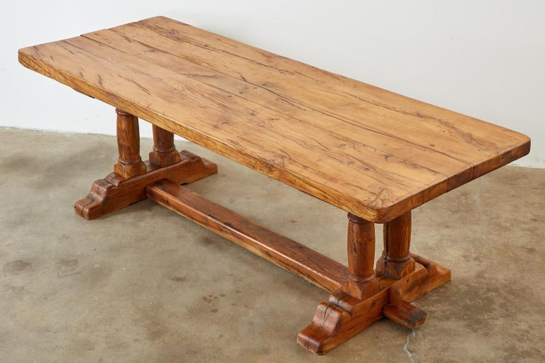 Country French Reclaimed Oak Farmhouse Trestle Dining Table For Sale 1