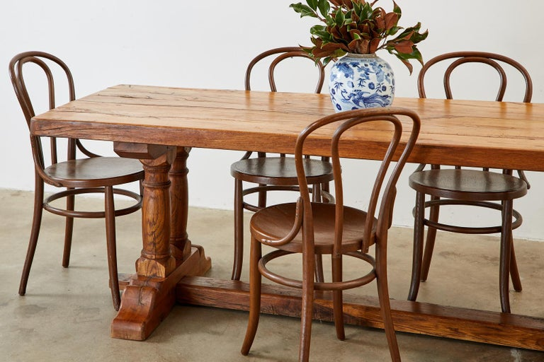 Country French Reclaimed Oak Farmhouse Trestle Dining Table For Sale 2
