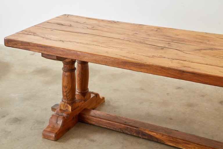 Country French Reclaimed Oak Farmhouse Trestle Dining Table For Sale 3