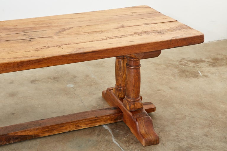 Country French Reclaimed Oak Farmhouse Trestle Dining Table For Sale 4