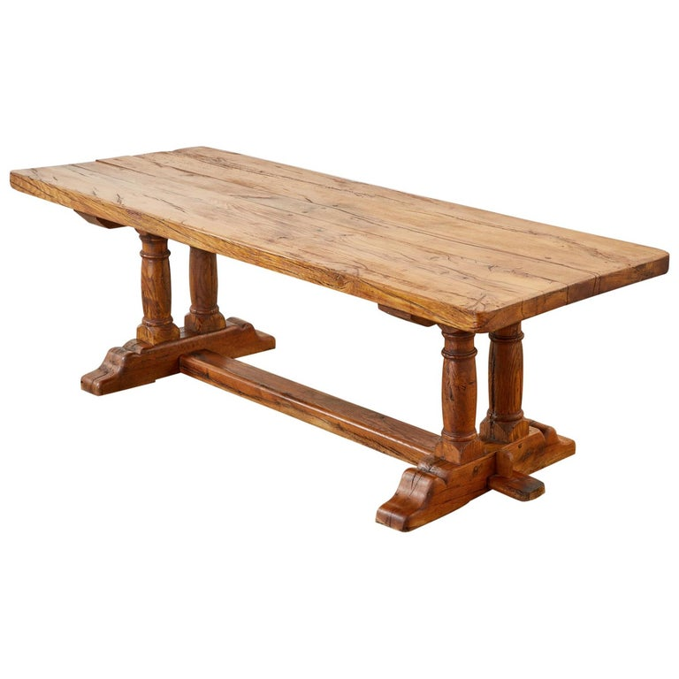 Country French Reclaimed Oak Farmhouse Trestle Dining Table For Sale