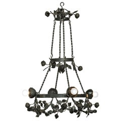 Country French Romantic Forged Iron Rose Chandelier