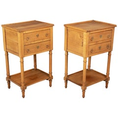Country French Side Tables or Nightstands, a Pair