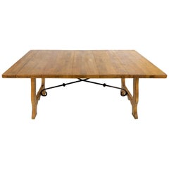 Country French Style Wood Dining Table with a Wrought Iron Stretcher
