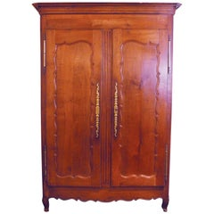 Country French Two-Door Armoire, All Hand Pegged Construction, circa 1800-1820
