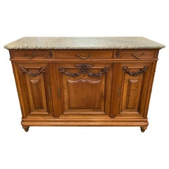 Country French Walnut and Marble Top Sideboard/Buffet