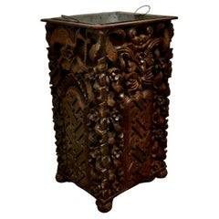 Country House Carved Gothic Oak Umbrella Stand