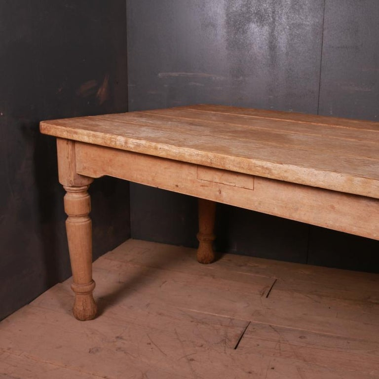 Large 19th century country house kitchen table. Lovely scrubbed top, 1870.