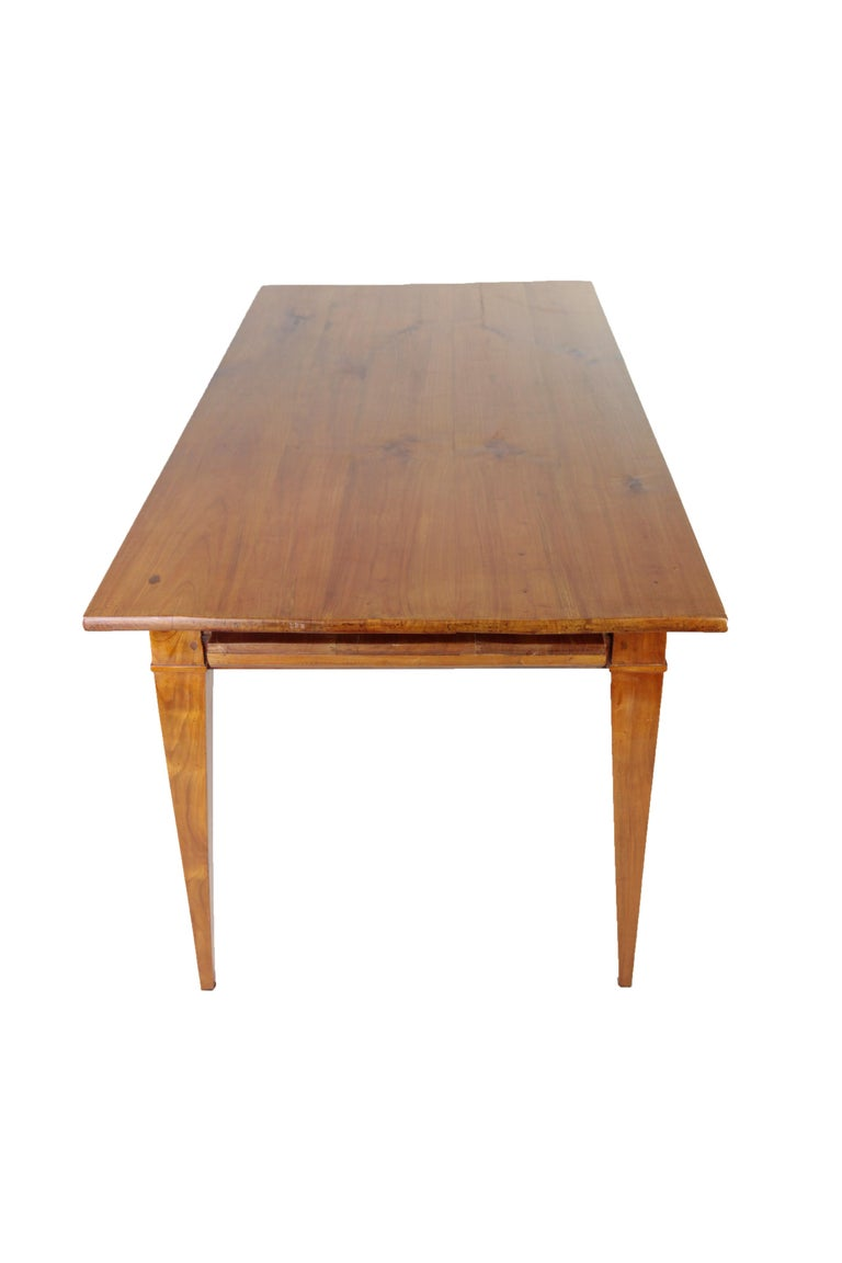 French Country House Table, France circa 1830-1840, Massive Cherry Tree, Wax Polish For Sale
