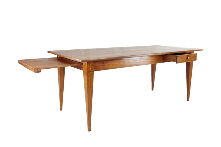 Mid-19th Century Country House Table, France circa 1830-1840, Massive Cherry Tree, Wax Polish For Sale