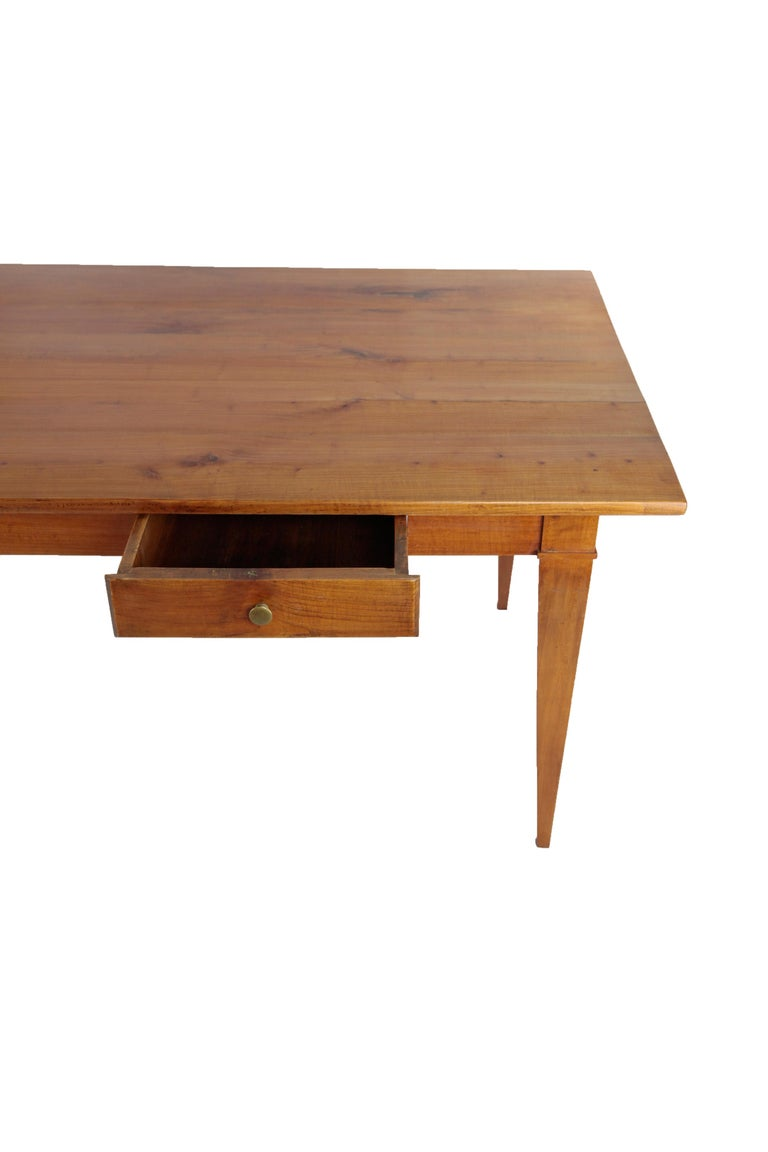 Country House Table, France circa 1830-1840, Massive Cherry Tree, Wax Polish For Sale 1