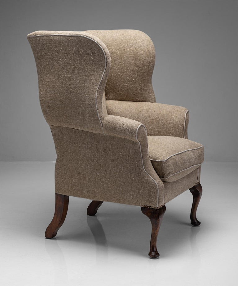 Country House Wingback armchair  England, Circa 1870  Elegant armchair newly upholstered in Irish linen.