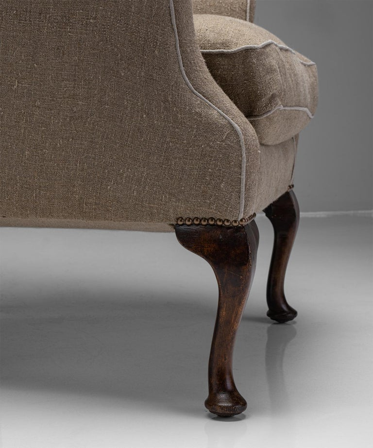 English Country House Wingback Armchair, England, Circa 1870 For Sale