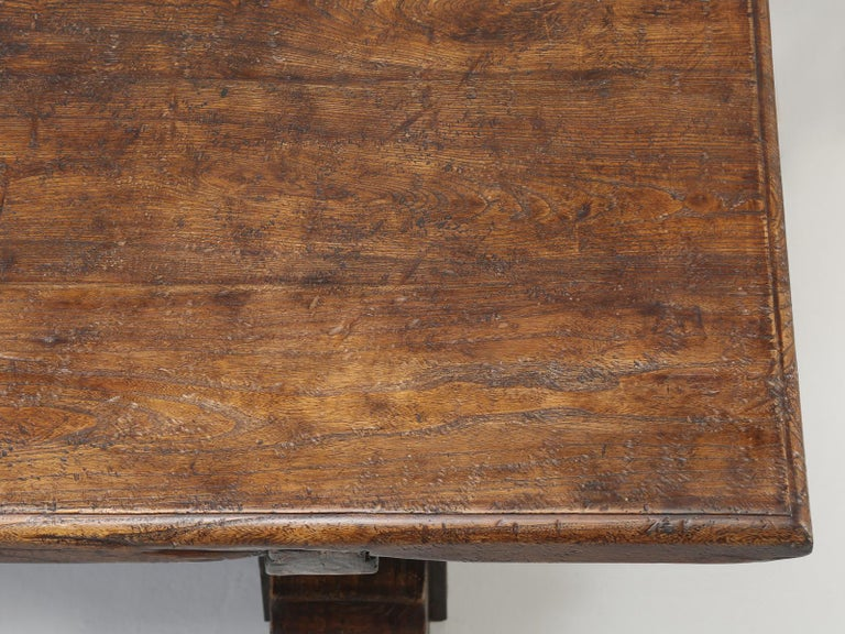 Country Italian Farm Table, Constructed from Solid Elm, Restored For Sale 5