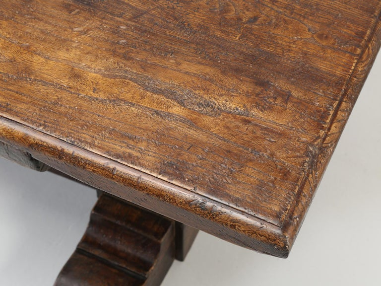 Country Italian Farm Table, Constructed from Solid Elm, Restored For Sale 6