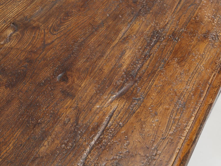 Country Italian Farm Table, Constructed from Solid Elm, Restored For Sale 2