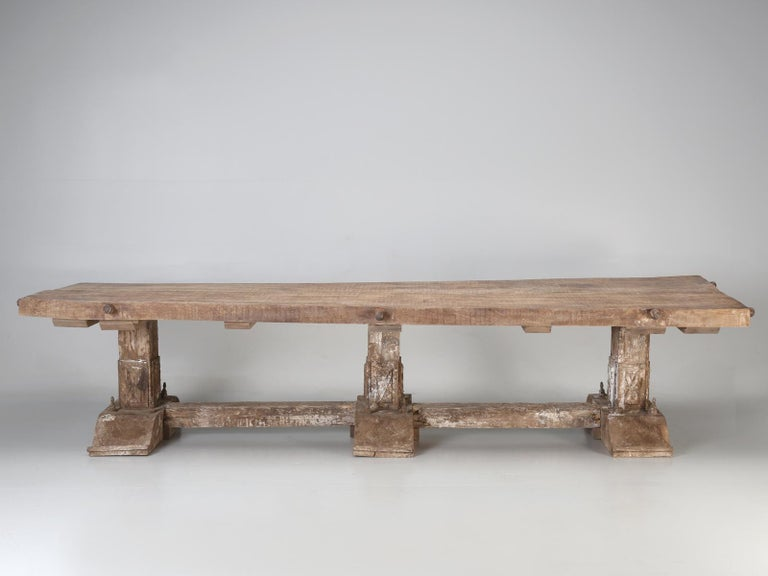 Mammoth antique rustic country Italian dining table in a trestle style and when I use the word antique, associated with Italian antique Italian dining tables, it can be a smidge misleading, for one never really knows the true origin of many supposed