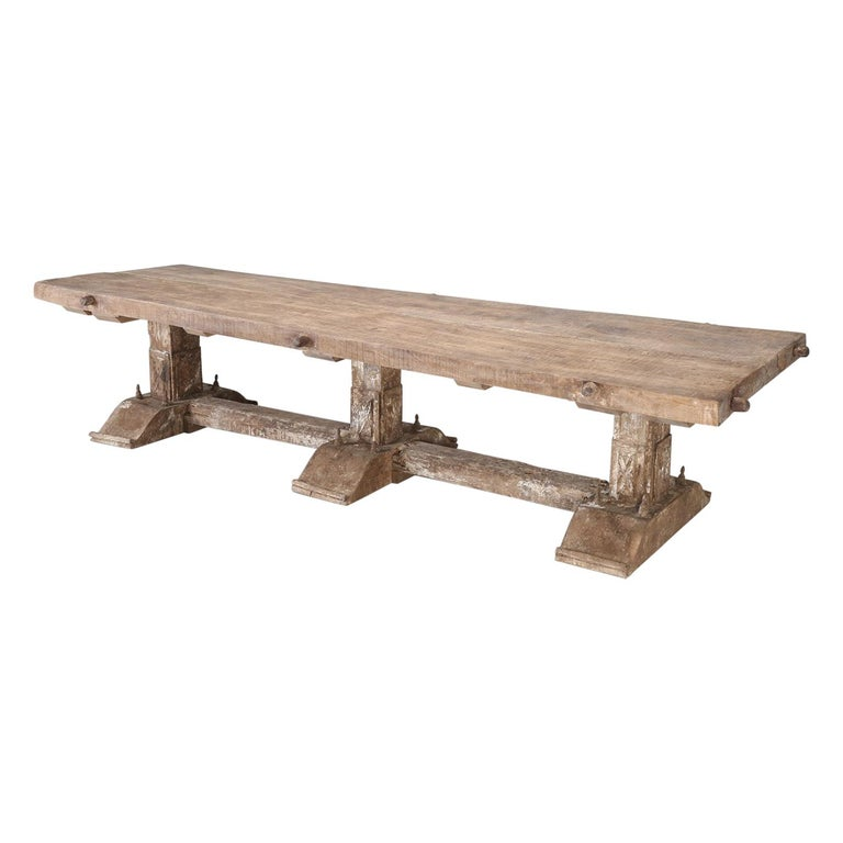 Country Italian Massive Size Dining Table Still in its Original Rustic Finish For Sale
