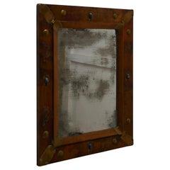 Country Made Art Nouveau Style Folk Art Copper Mirror