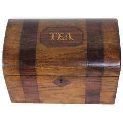 Country Oak and Mahogany Late Georgian Tea Caddy, TEA in Satinwood