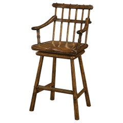 Country Oak Armchair Bar Stool