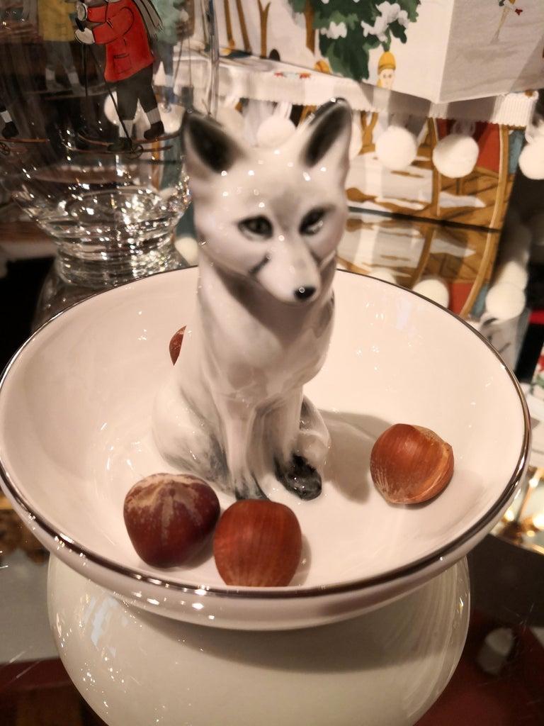 Contemporary Country Porcelain Fox Figure Hand Painted German Sofina Boutique Kitzbuehel For Sale