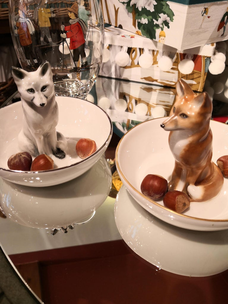 Country Porcelain Fox Figure Hand Painted German Sofina Boutique Kitzbuehel For Sale 1