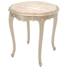 Country Provincial Tall Legs Silver Gilt Marble-Top Lamp Table Stand