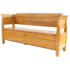 Country Rustic Yellow Wooden Bench