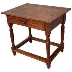 Country Spanish Pine Farmhouse Side, Coffee or Nightstand Table with Drawer