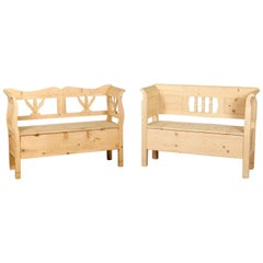 Country Style Carved Pine Bench with Storage, 20th Century