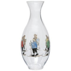 Country Style Crystal Carafe Hand Painted Skier Decor Sofina Boutique Kitzbühel