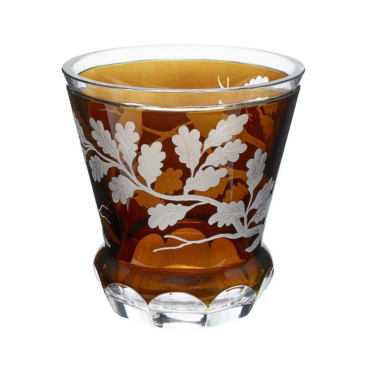 Hand blown crystal laterne in dark brown glass with 2 birds sitting on oak leaves decorated all around. Hand carved by Bavarian glass artists . Can be used with a candle as laterne or with flowers as a vase. Entirely handmade in Bavaria or Germany
