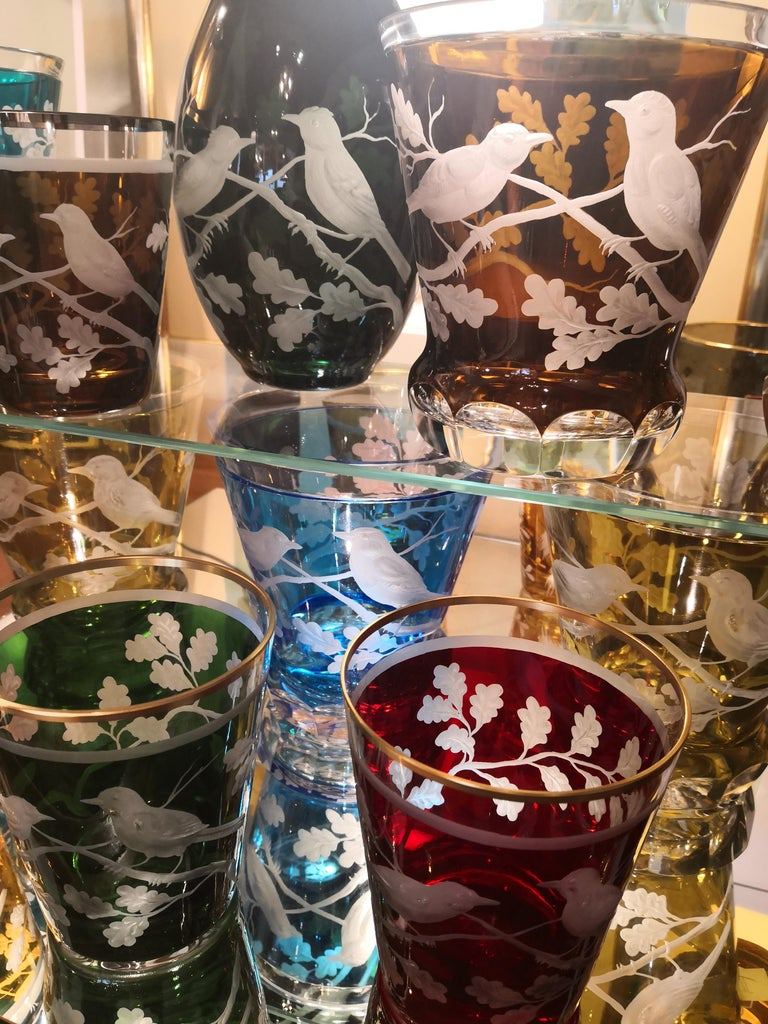 German Country Style Hand Blown Crystal Laterne Birds Decor  Sofina Boutique Kitzbuehel For Sale