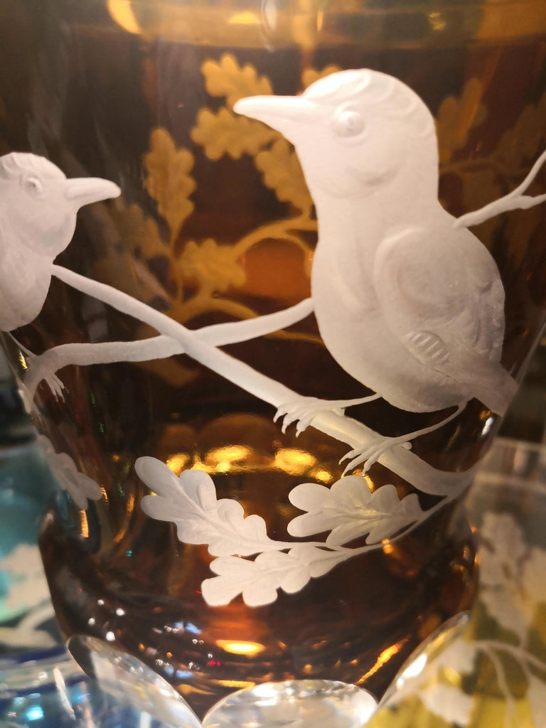 Hand-Crafted Country Style Hand Blown Crystal Laterne Birds Decor  Sofina Boutique Kitzbuehel For Sale