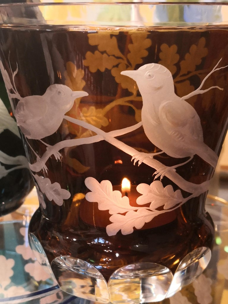 Contemporary Country Style Hand Blown Crystal Laterne Birds Decor  Sofina Boutique Kitzbuehel For Sale