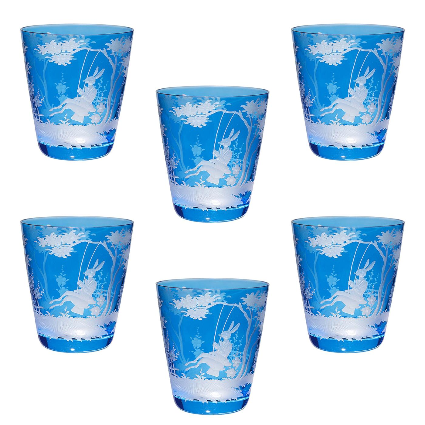 Country Style Easter Set of Six Glass Tumbler Blue Sofina Boutique Kitzbuehel