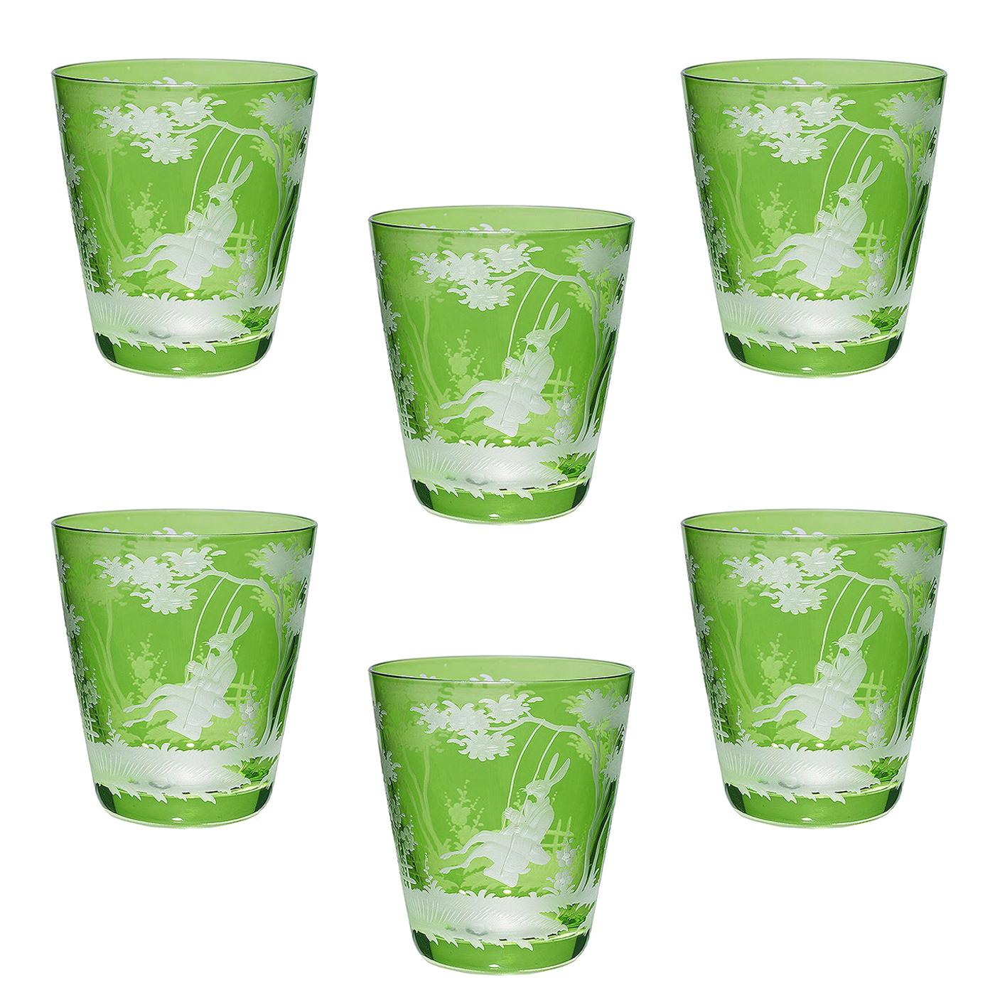 Country Style Easter Set of Six Glass Tumbler Green Sofina Boutique Kitzbuehel