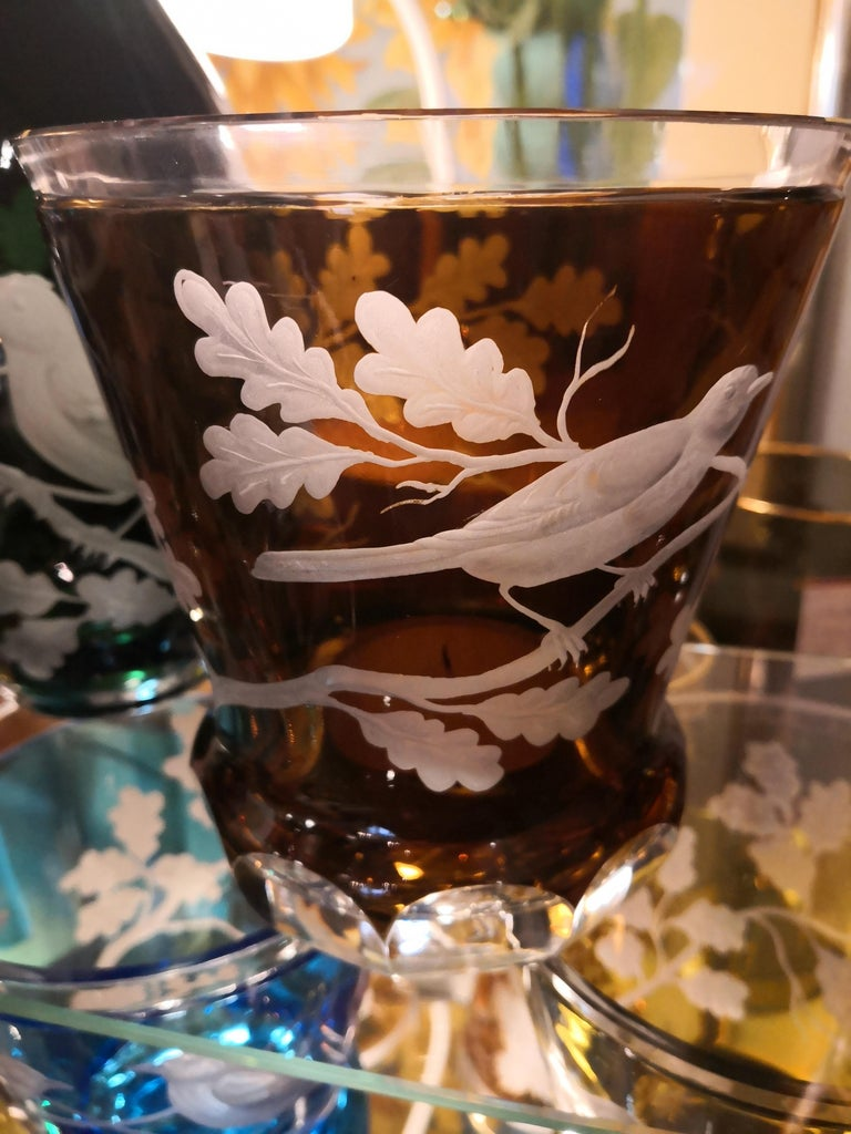 Country Style Hand Blown Crystal Laterne Brown Glass Sofina Boutique Kitzbühel In New Condition For Sale In Kitzbuhel, AT