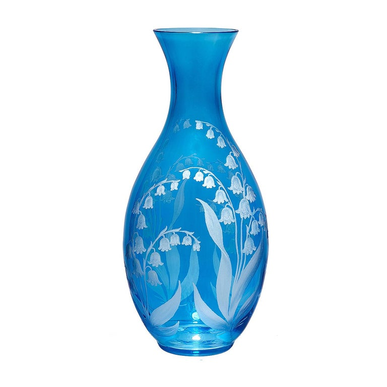 German Country Style Hand Blown Crystal Vase Blue Glass Sofina Boutique Kitzbühel For Sale