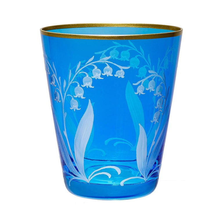Hand-Carved Country Style Hand Blown Crystal Vase Blue Glass Sofina Boutique Kitzbühel For Sale