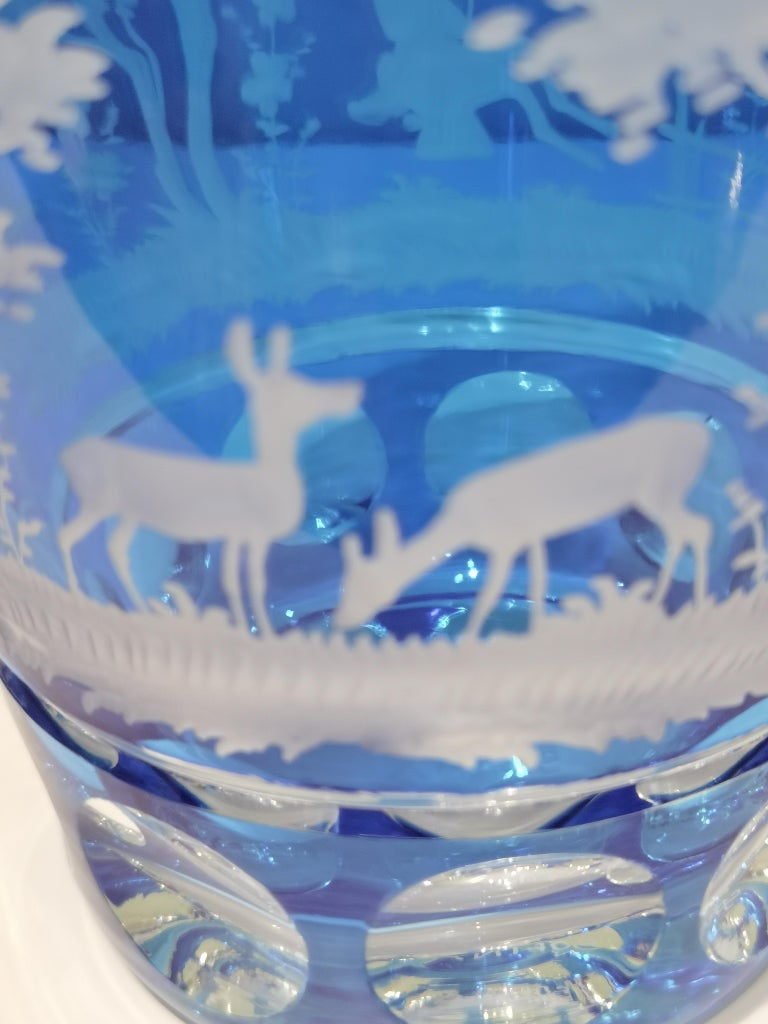 Country Style Hand Blown Crystal Vase Blue Glass Sofina Boutique Kitzbühel In New Condition For Sale In Kitzbuhel, AT