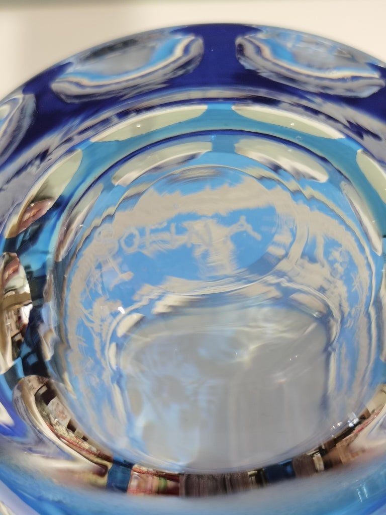 Country Style Hand Blown Crystal Vase Blue Glass Sofina Boutique Kitzbühel For Sale 1