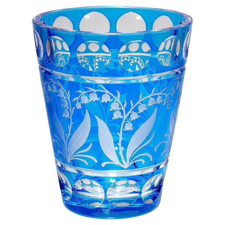Country Style Hand Blown Crystal Vase Blue Glass Sofina Boutique Kitzbühel For Sale