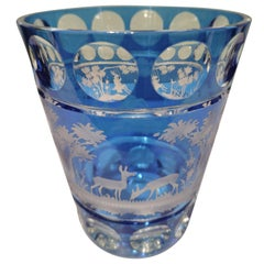 Country Style Hand Blown Crystal Vase Blue Glass Sofina Boutique Kitzbühel