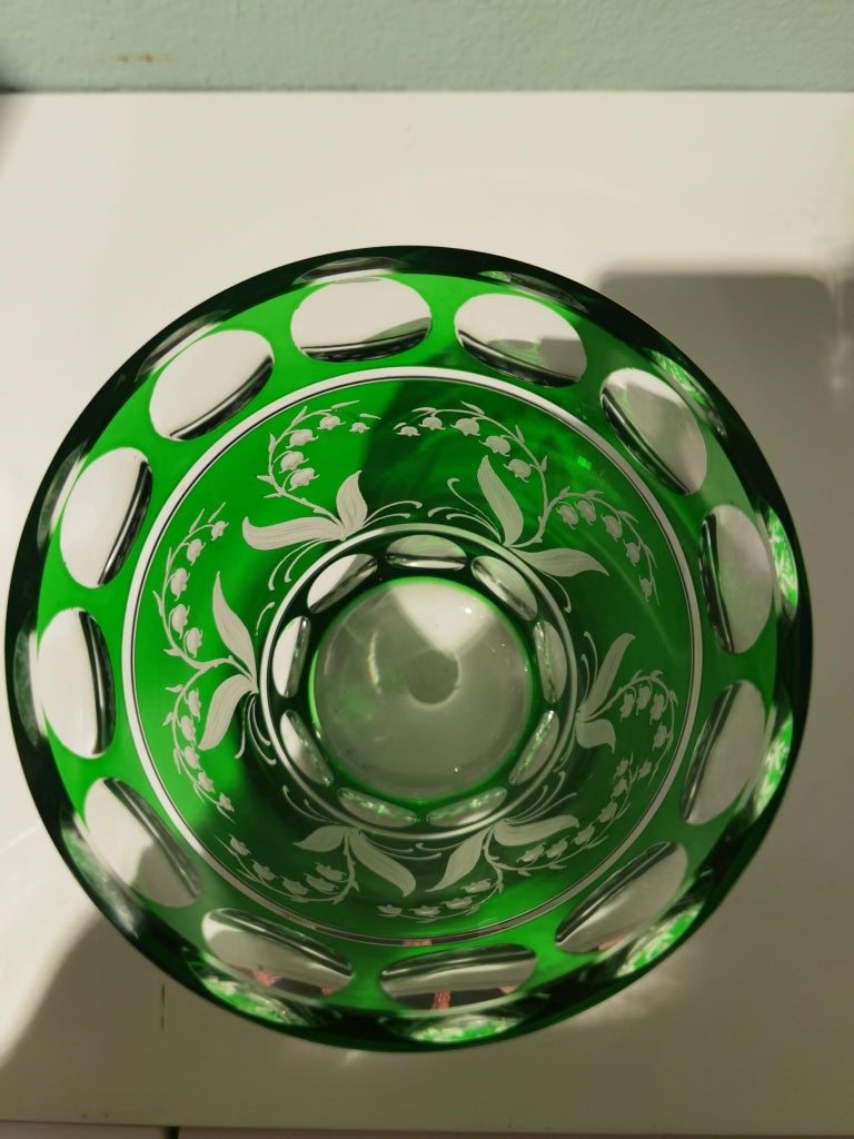 German Country Style Hand Blown Crystal Vase Green Sofina Boutique Kitzbuehel For Sale