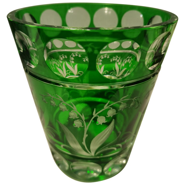 Country Style Hand Blown Crystal Vase Green Sofina Boutique Kitzbuehel For Sale