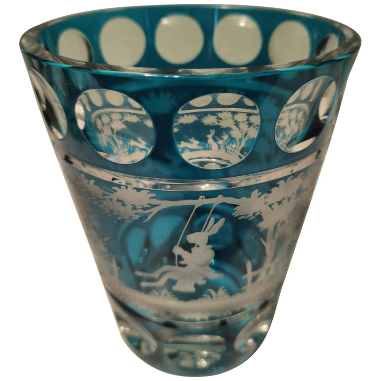 Country Style Hand Blown Crystal Vase Petrol Glass Sofina Boutique Kitzbühel For Sale