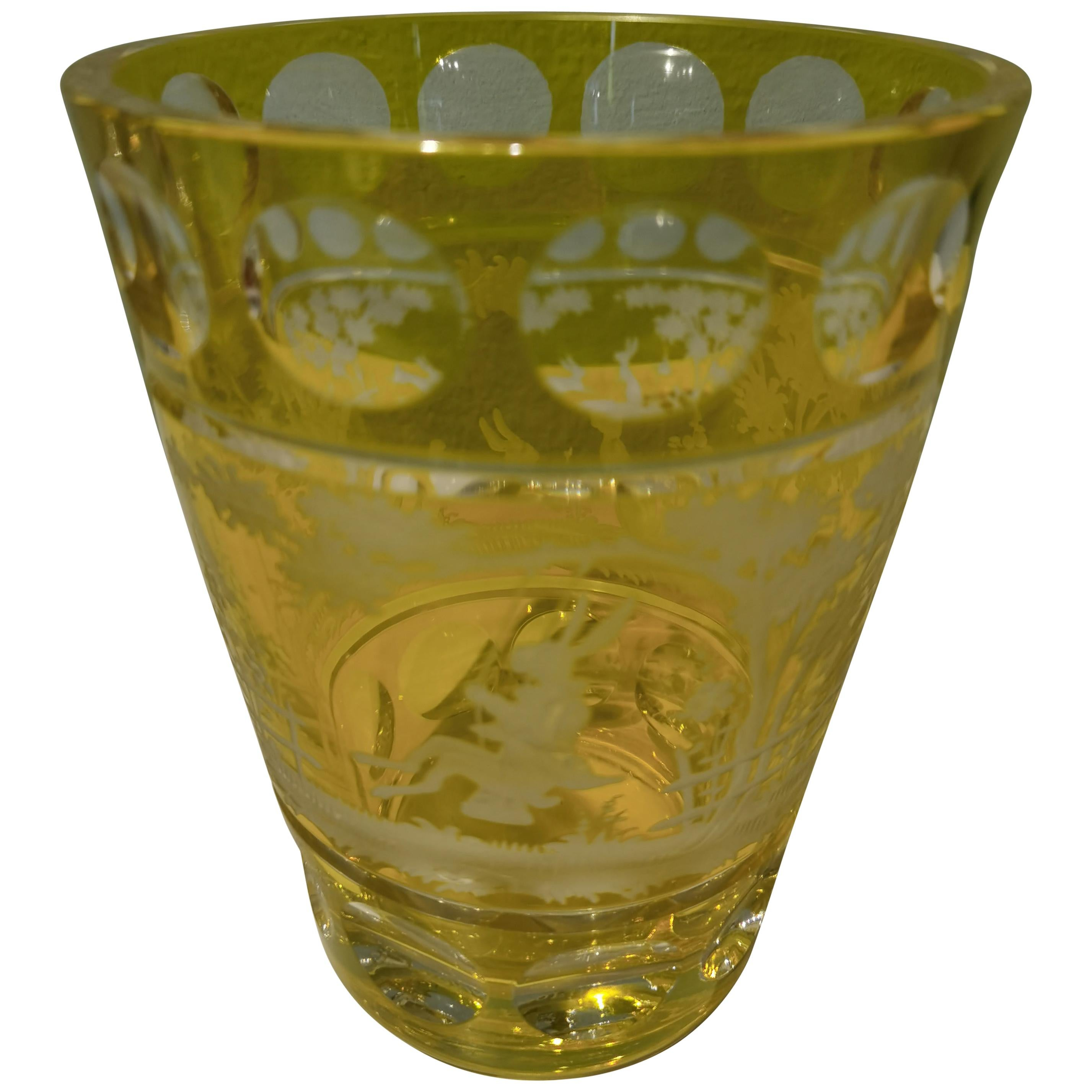 Country Style Hand Blown Crystal Vase Yellow Glass Sofina Boutique Kitzbühel